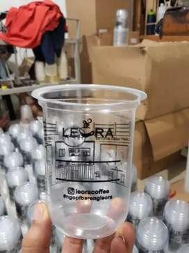 Sablon cup gelas plastik CUP PP OVAL 12oz 8gram