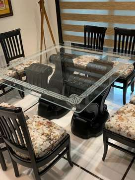 Etched glass top for dining