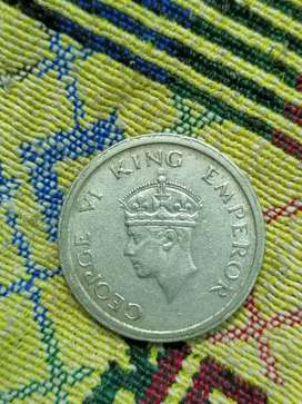 George 6 king emperor's one rupee old coin 1947 year