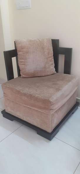 2+1+1 Wooden soft brown color with matching cushion