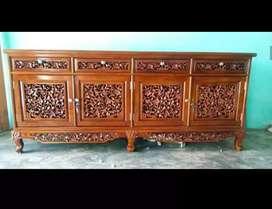 Bufet rak meja tv kayu jati ukiran size:P:200xL:45xT:75cm.