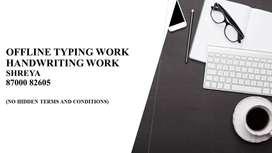 Part time job offline typing job-Handwriting job