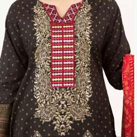 BLACK AND RED FLORET EMBROIDERY AND PRINTED LAWN UN-STICHED 3 PIECE