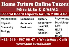 The Best Online & Home Tutors Available O/A Levels, IGCSE, FBISE KG-12