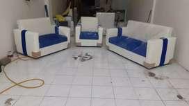 ANUGRAH-FURNITURE,Sofa 321 set cream-biru minimalis kulit.