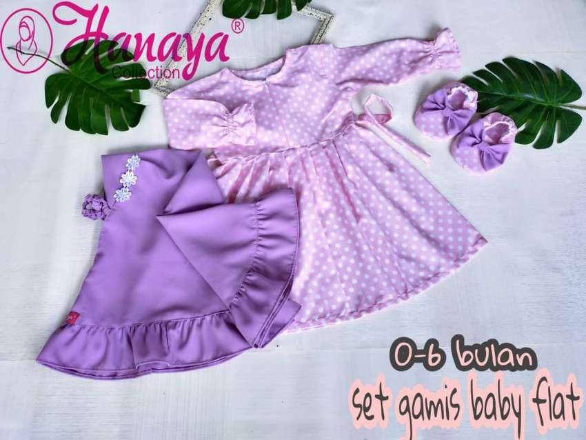 FLOWER SERIES Set Gamis Baby Flat Shoes 0-6 Bulan Baju Muslim Bayi 0