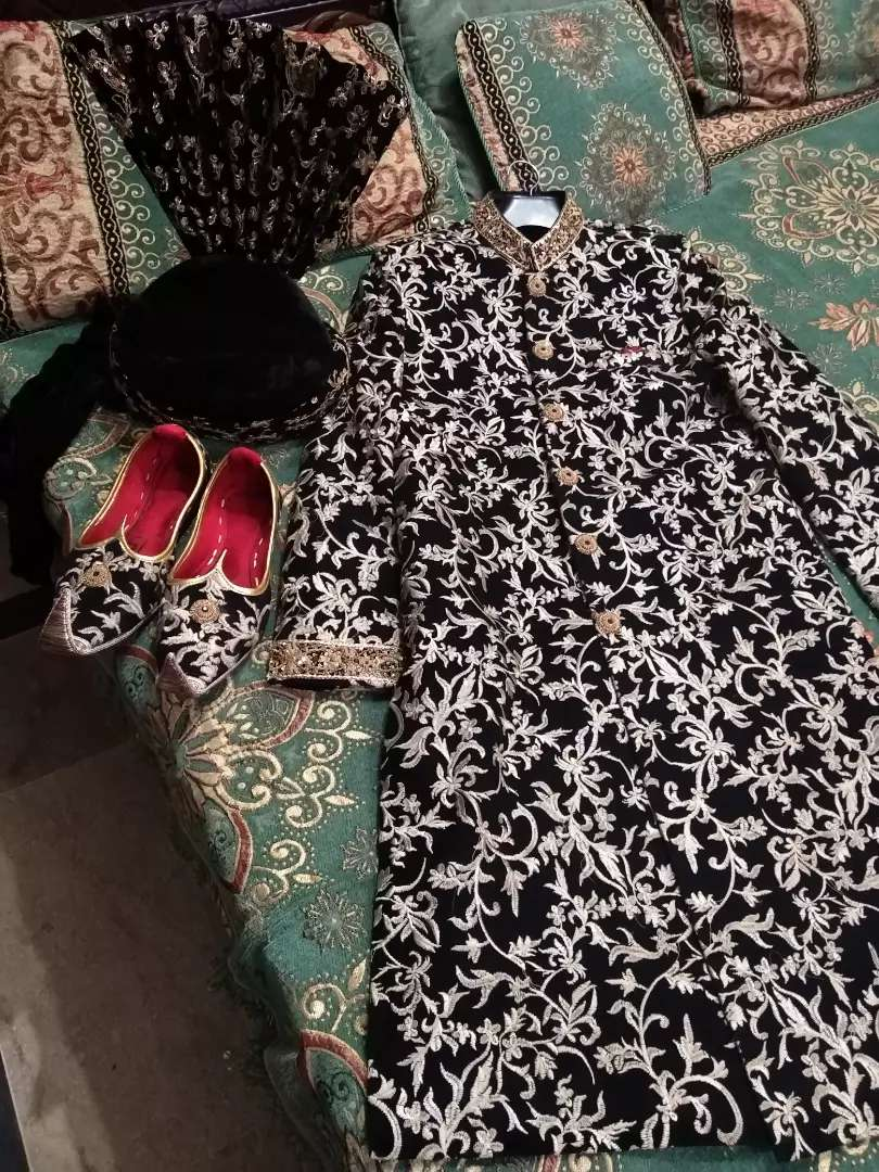Branded Black Printed Sherwani 0