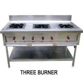 Three burner commercial cooking range