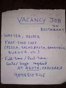 Waiter, helper, Pizza Chef, Part-time Full-time, girls - Boys required