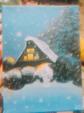 Arcylic painting /  A beautiful house in a snowy area for sale