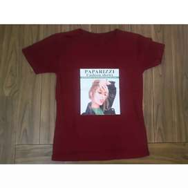 KAOS/T-SHIRT TUMBLR TEE WANITA // PAPARIZZI (RED)