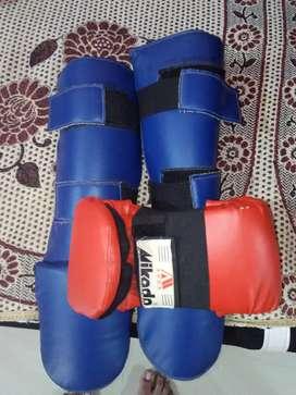 Karate gloves and shin guard
