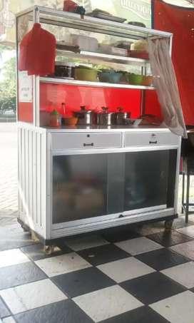 Dijual Gerobak Alumunium + meja makan bisa untuk mie ayam atau bakso