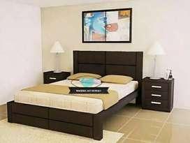 Tempat tidur minimalis+meja lampu,bahan kayu jati terbaik