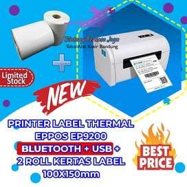PRINTER LABEL THERMAL BARCODE EPPOS EP9200 BLUETOOTH + USB + 2 ROLL KE