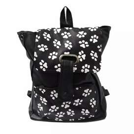 Top Shine Black Pu Leather Backpack For Girls LD 2