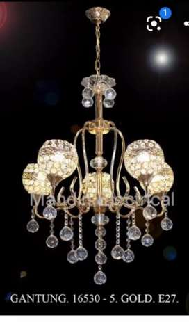 Lampu gantung kristal cabang 5 gold