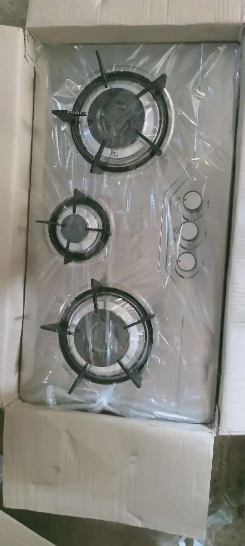 Marble hob 3 burner steel body gas +electric ignition