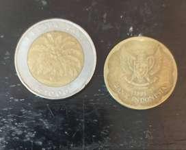Uang logam 1000 kelapa sawit dan uang 500 tahun 1991 barter Ninja 250