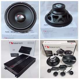 Paket Audio Nakamichi Power 4CH Subwoofer 12 Inch Speaker Split 2way