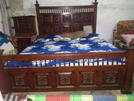 1 Beautiful double bed made for wooden brown