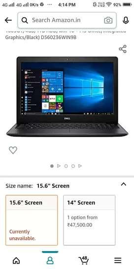 Dell laptop 5 mnt old new pack avl.