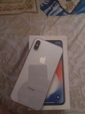 I phone X in white 64 GB good condition in warranty