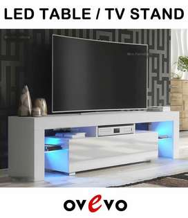 High Gloss Black TV Stand Unit Cabinets Flat Box Packed with LED light