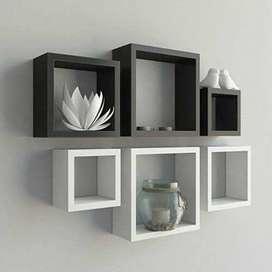 Set Rak Dinding Kotak Monokrom // Kayu Jati belanda -3 pcs