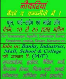 Jobs in banks,office,companies,School
