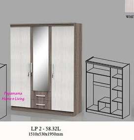 Lemari Pakaian 3 Pintu Cermin - Lemari Baju Clazio Larma Series -Medan