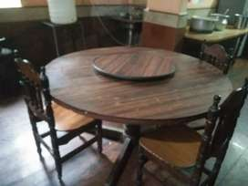 Wooden dining table + 5 chairs