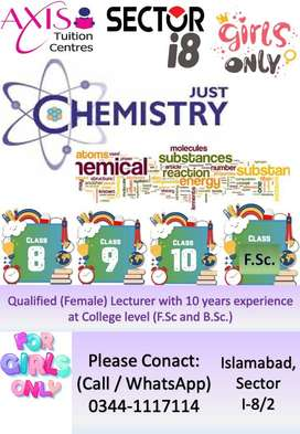 Chemistry Tuition For Girls (8th till 12th)- Sector I-8