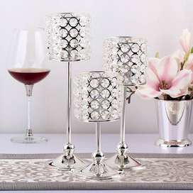 3Pc Silver Plated Candlestick Crystal Centerpiece Wedding Decoration
