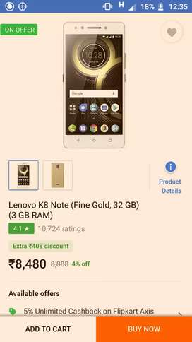 Lenovo k8 note 3GB