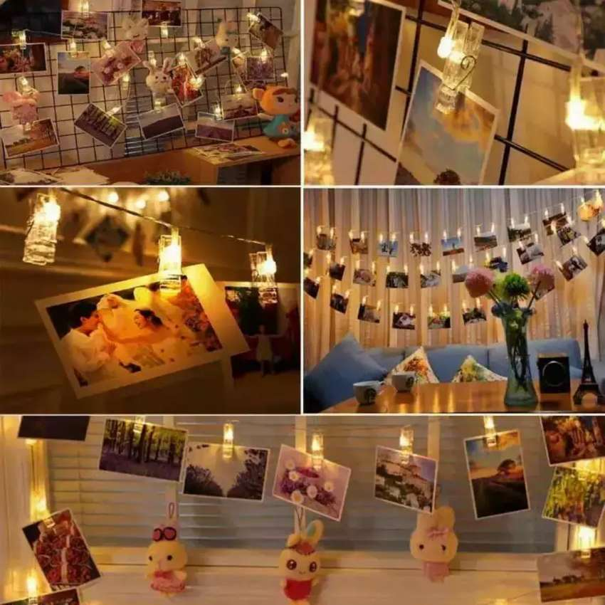 Led clips fairy string light for attaching pics parties  birthday