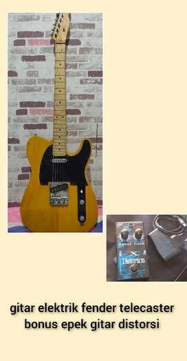 gitar elektrik fender telecaster mulus bonus epek gitar dll