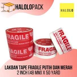 Lakban Tape Fragile Putih dan Merah 2 Inch (48 mm) x 50 Yard