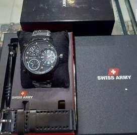 jam tangan swiss army dengan 3 analog aktif fullset include fullblack