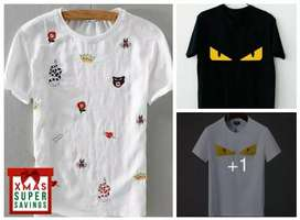 New trading printed cotton tees Round neck
