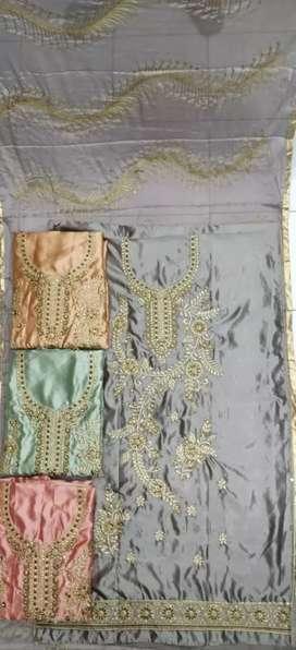 New satin dress material