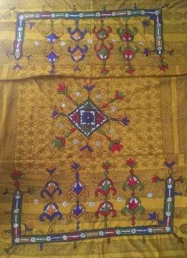 Traditional Embroidery Yellow Thari Shawl