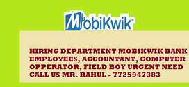 URGENT NEED IN HIRING DEPARTMENT  MOBIKWIK BANK100% JOB