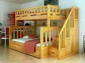 Tempat tidur anak tingkat material kayu jati ajf49