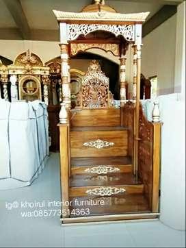 Mimbar masjid khotbah kayu jati barang readi apm58.