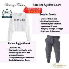 AM00319 Celana Setelan Satu set Sweater cewek dan celana joger
