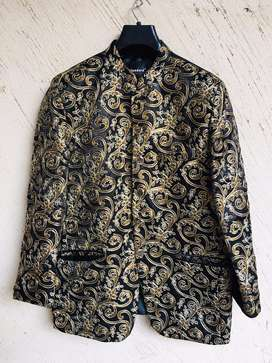 Embroided Prince Coat Silk Black For Sale.