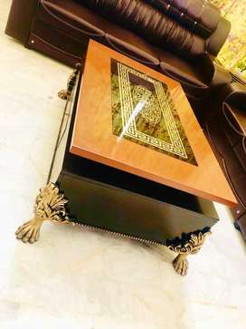 pure Shisham Center table Chinyoti with glass bed table chair diwan
