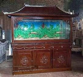 Meja aquarium bufet jati ruang tamu