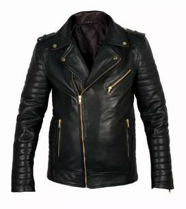 Biker Style Genuine Leather Jacket #BQ-555